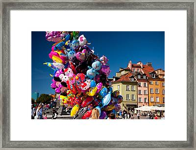 Funny Helium Balloons Stick Up Framed Print