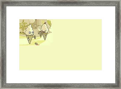 Funny Ice Cream Licking Humans                  Framed Print by F S