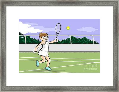 Funny Illustration Of A Brown-haired Woman Playing Tennis Framed Print