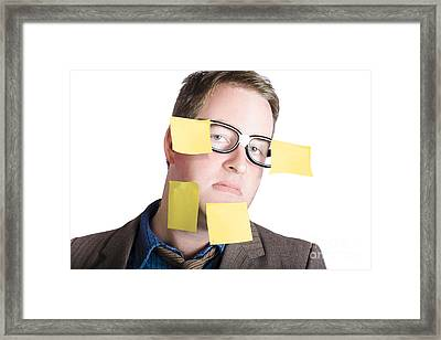 Funny Man With Yellow Sticky Notes On Face Framed Print