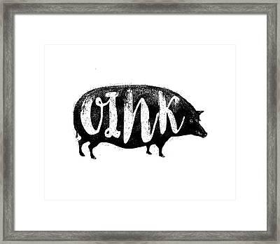 Funny Oink Pig Framed Print by Antique Images