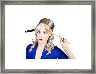 Funny Pin Up Housewife Saluting For Cooking Duties Framed Print by Jorgo Photography - Wall Art Gallery