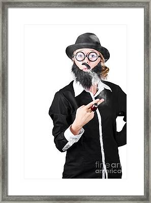 Funny Portrait Of Disguised Woman Smoking Framed Print by Jorgo Photography - Wall Art Gallery