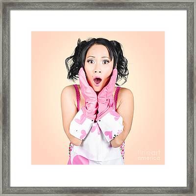 Funny Portrait Of Stressed Young Housewife Framed Print
