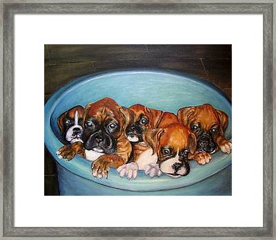 Funny Puppies Orginal Oil Painting Framed Print by Natalja Picugina