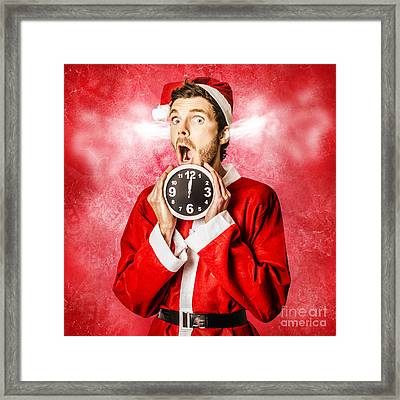 Funny Santa In A Crazy Mad Christmas Rush Framed Print by Jorgo Photography - Wall Art Gallery
