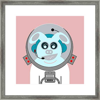 Funny Space Bunny Vector Art Framed Print by Andy Gimino