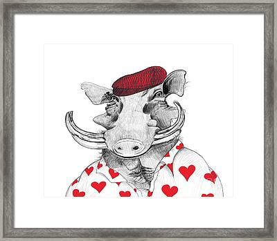 Funny Warthog Pig In Love Framed Print