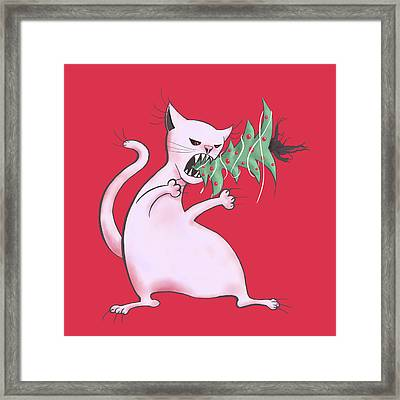 Funny White Cat Eats Christmas Tree Framed Print