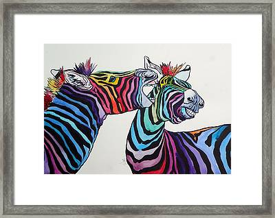 Funny Zebras Framed Print