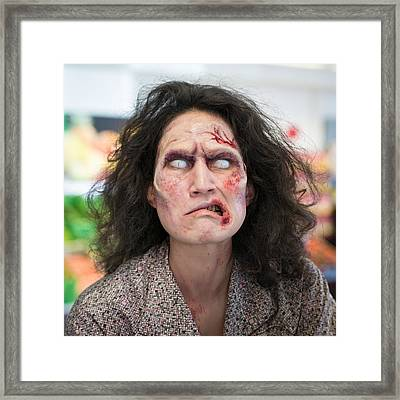 Funny Zombie Grimace Framed Print by Matthias Hauser