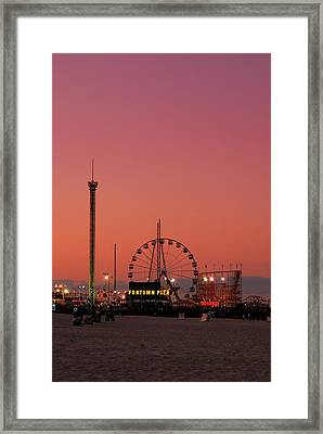Funtown Pier At Sunset II - Jersey Shore Framed Print by Angie Tirado