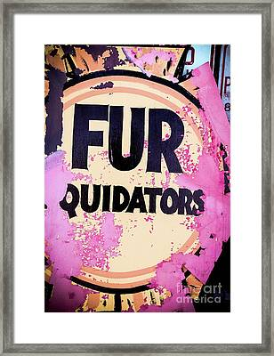 Framed Print featuring the photograph Fur - Sign by Colleen Kammerer