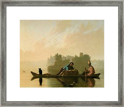 Fur Traders Descending The Missouri Framed Print by George Caleb Bingham