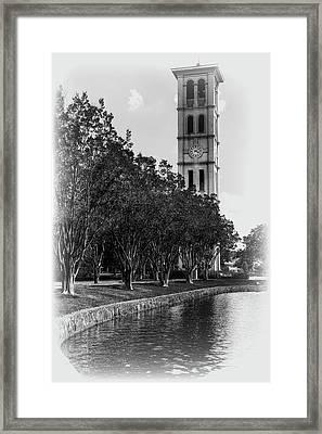 Furman University Bell Tower Greenville South Carolina Black And White Framed Print