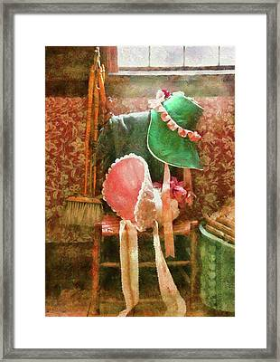 Furniture - Chair - Bonnets  Framed Print by Mike Savad