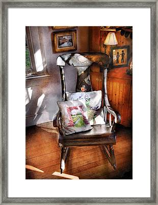 Furniture - Chair - Grannies Rocking Chair  Framed Print by Mike Savad
