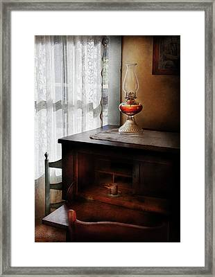 Furniture - Lamp - I Used To Write Letters  Framed Print by Mike Savad