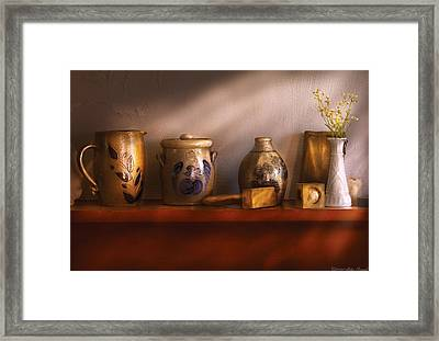 Furniture - Shelf - Family Heirlooms  Framed Print by Mike Savad