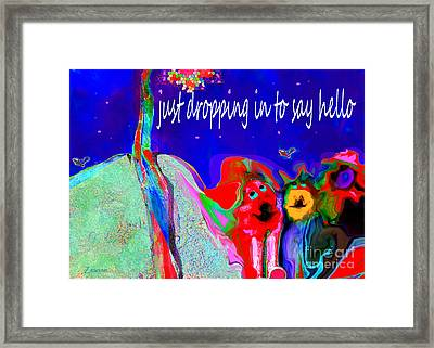 Furry Pals And A Bright Hello Framed Print