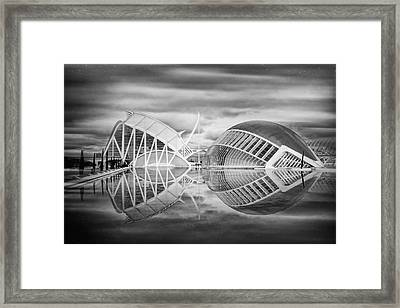 Futuristic Architecture Of Modern Valencia Spain In Black And Wh Framed Print by Carol Japp