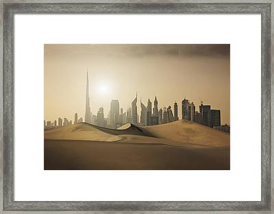 Futuristic City In The Desert Framed Print