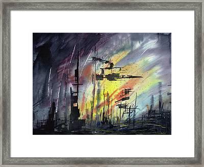Futuristic Cityscape Framed Print by Sean Seal