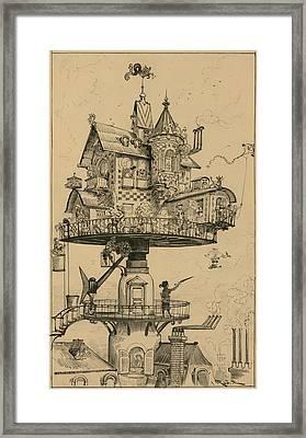 Futuristic Drawing By Albert Robida Framed Print
