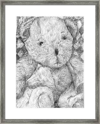 Framed Print featuring the drawing Fuzzy Wuzzy Bear  by Vicki  Housel