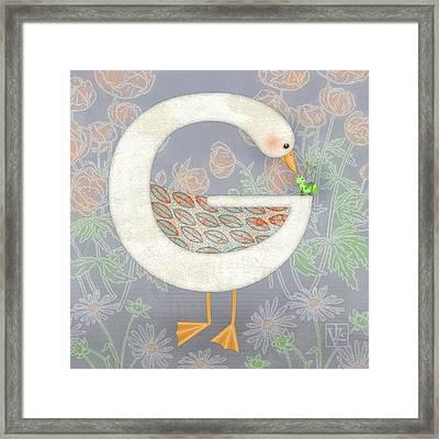 G Is For Goose And Grasshopper Framed Print by Valerie Drake Lesiak