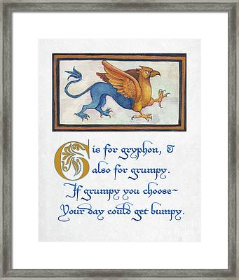 G Is For Gryphon Framed Print