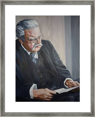 Framed Print featuring the painting G K Chesterton by Bryan Bustard