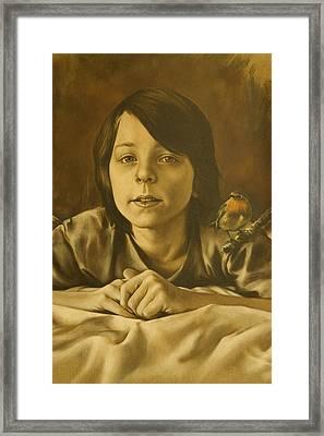 Gabriel Monotone Sketch Framed Print by Tim Thorpe