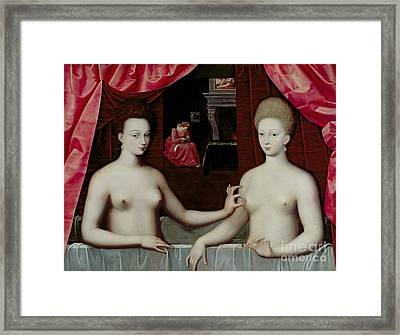 Gabrielle Destrees And Her Sister The Duchess Of Villars Framed Print by Fontainebleau School