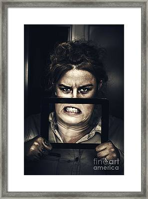 Gadget Mad Woman With New Tablet Technology Framed Print