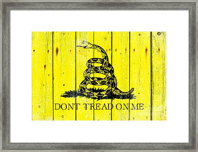 Gadsden Flag On Old Wood Planks Framed Print
