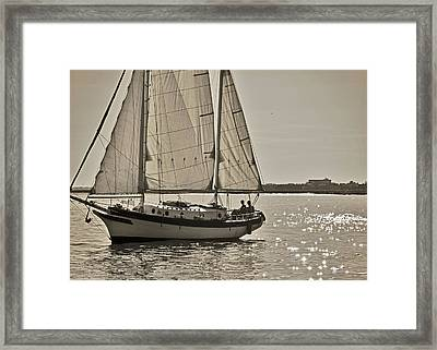 Gaff Rigged Ketch Cutter Sailing The Charleston Harbor Framed Print by Dustin K Ryan
