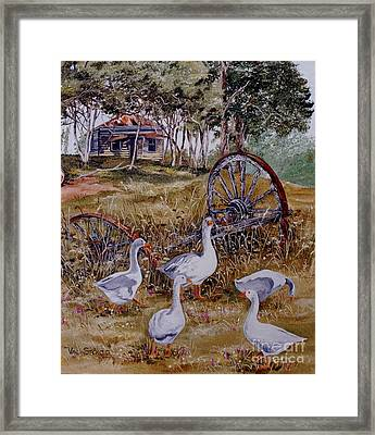 Gaggling Geese Framed Print by Val Stokes