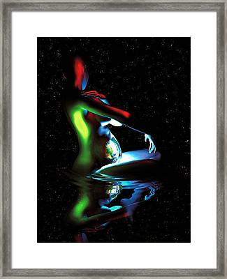 Gaia Bathing In A Pool Of Stars Framed Print by Pet Serrano
