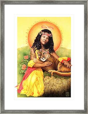 Gaian Tarot Strength Framed Print by Joanna Powell Colbert