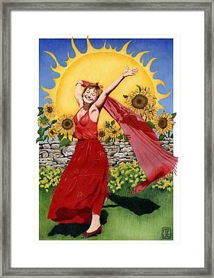 Gaian Tarot Sun Framed Print by Joanna Powell Colbert