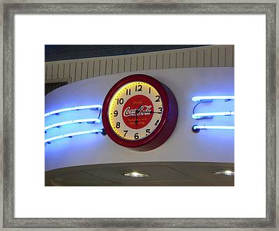 Framed Print featuring the photograph Galaxy Diner Clock by Gordon Beck