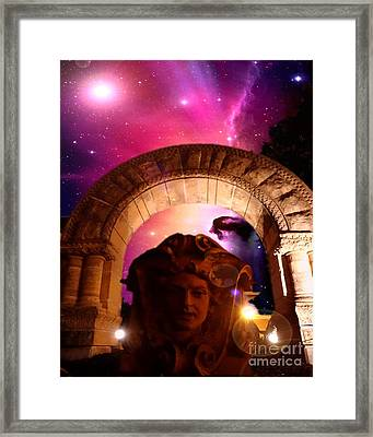Galaxy Stone Head Framed Print by Justin Moore