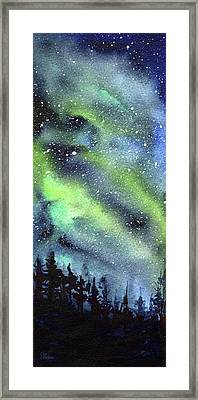 Galaxy Watercolor Nebula Northern Lights Framed Print