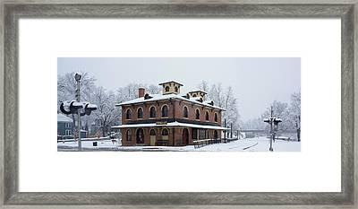 Galena Depot Snowfall Framed Print by Steve Gadomski