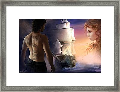 Galeon On The Horizon Framed Print by Sonia Verdu