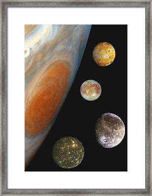 Framed Print featuring the photograph Galilean Moons Of Jupiter by Artistic Panda