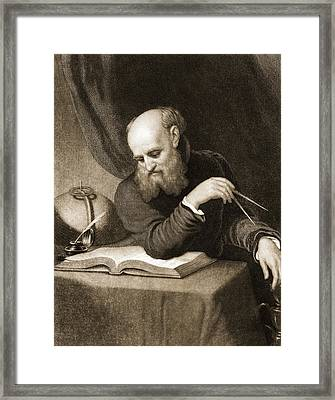 Galileo With Compass And Diagrams Framed Print by American School