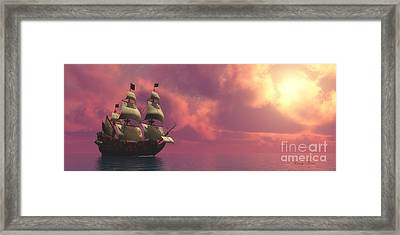 Galleon Ship With Sails Framed Print