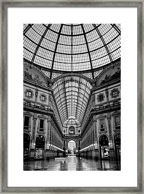 Galleria Milan Italy Bw Framed Print by Joan Carroll